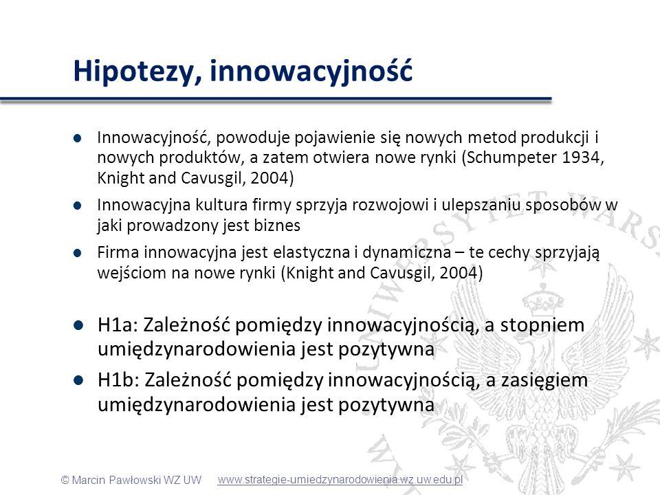 © Marcin Pawłowski WZ UW Hipotezy, innowacyjność Innowacyjność, powoduje pojawienie się nowych metod produkcji i nowych produktów, a zatem otwiera now