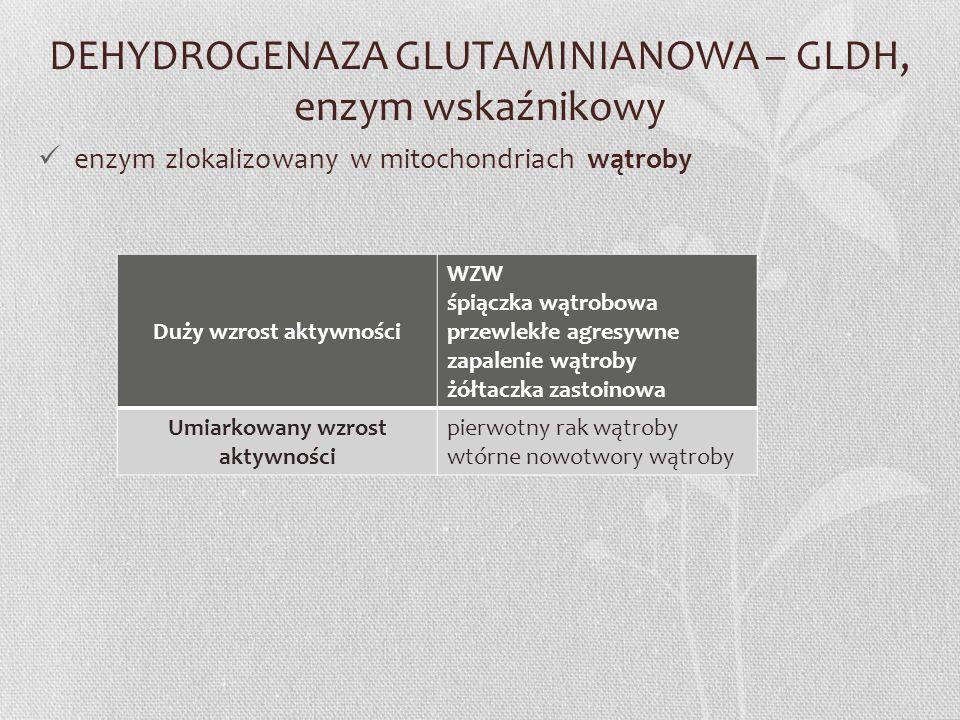 DEHYDROGENAZA GLUTAMINIANOWA – GLDH, enzym wskaźnikowy enzym zlokalizowany w mitochondriach wątroby Duży wzrost aktywności WZW śpiączka wątrobowa prze