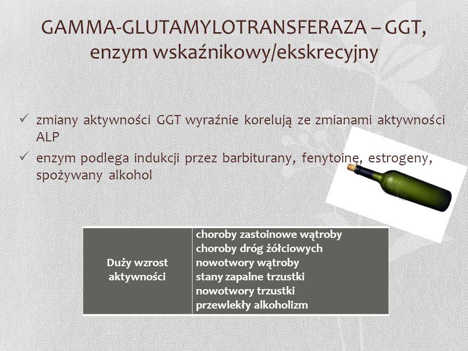 GAMMA-GLUTAMYLOTRANSFERAZA – GGT, enzym wskaźnikowy/ekskrecyjny zmiany aktywności GGT wyraźnie korelują ze zmianami aktywności ALP enzym podlega induk