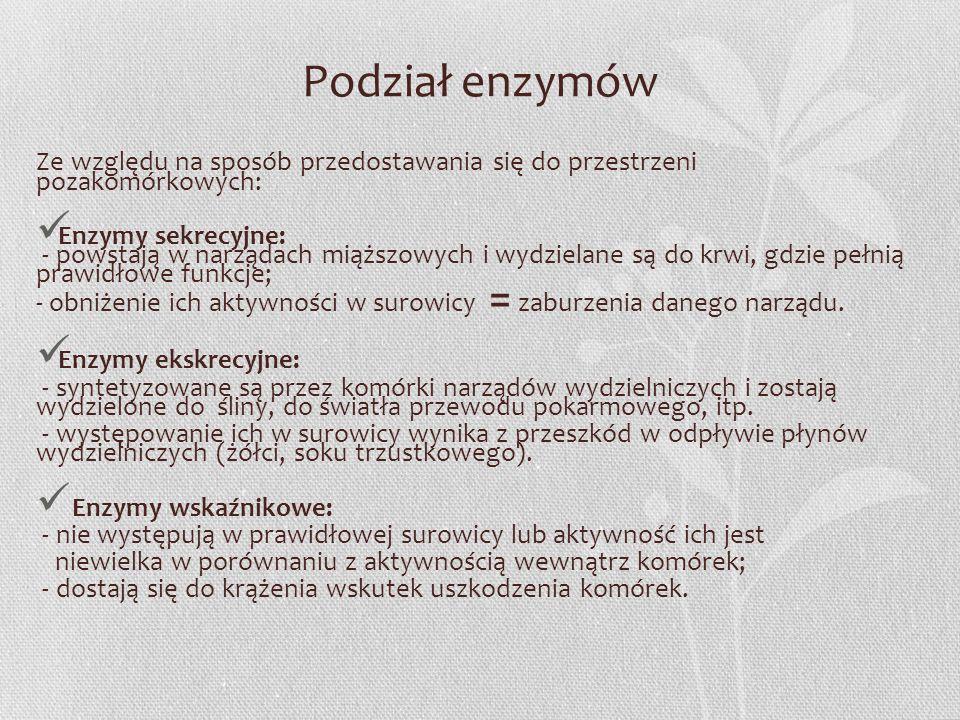 Podział enzymów Ze względu na sposób przedostawania się do przestrzeni pozakomórkowych: Enzymy sekrecyjne: - powstają w narządach miąższowych i wydzie