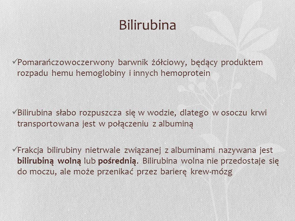 Bilirubina Pomarańczowoczerwony barwnik żółciowy, będący produktem rozpadu hemu hemoglobiny i innych hemoprotein Bilirubina słabo rozpuszcza się w wod