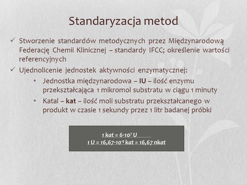 Standaryzacja metod Stworzenie standardów metodycznych przez Międzynarodową Federację Chemii Klinicznej – standardy IFCC; określenie wartości referenc