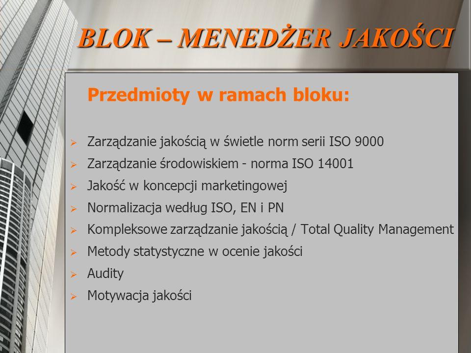 Przedmioty w ramach bloku: Zarządzanie jakością w świetle norm serii ISO 9000 Zarządzanie środowiskiem - norma ISO 14001 Jakość w koncepcji marketingo