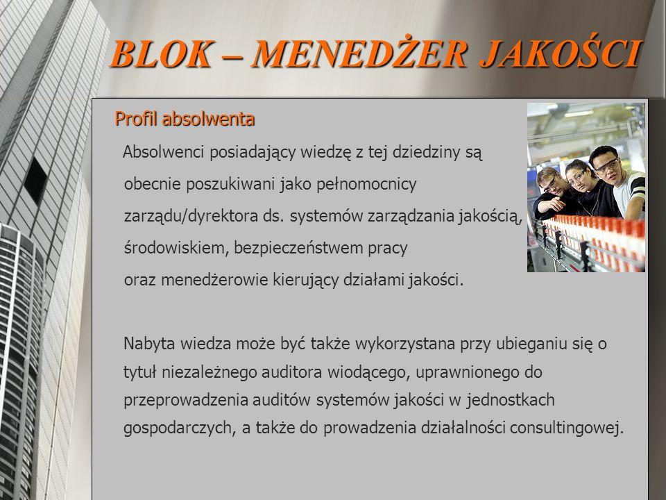 Profil absolwenta Profil absolwenta Absolwenci posiadający wiedzę z tej dziedziny są obecnie poszukiwani jako pełnomocnicy zarządu/dyrektora ds. syste