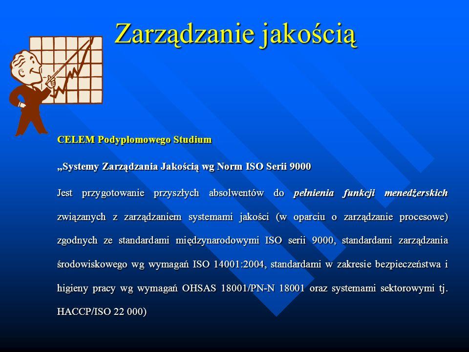 Zarządzanie jakością CELEM Podyplomowego Studium Systemy Zarządzania Jakością wg Norm ISO Serii 9000Systemy Zarządzania Jakością wg Norm ISO Serii 9000 Jest przygotowanie przyszłych absolwentów do pełnienia funkcji menedżerskich związanych z zarządzaniem systemami jakości (w oparciu o zarządzanie procesowe) zgodnych ze standardami międzynarodowymi ISO serii 9000, standardami zarządzania środowiskowego wg wymagań ISO 14001:2004, standardami w zakresie bezpieczeństwa i higieny pracy wg wymagań OHSAS 18001/PN-N 18001 oraz systemami sektorowymi tj.