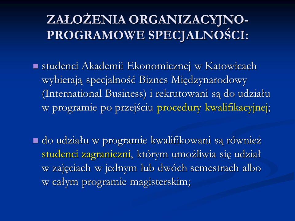 ZAŁOŻENIA ORGANIZACYJNO- PROGRAMOWE SPECJALNOŚCI: studenci Akademii Ekonomicznej w Katowicach wybierają specjalność Biznes Międzynarodowy (Internation