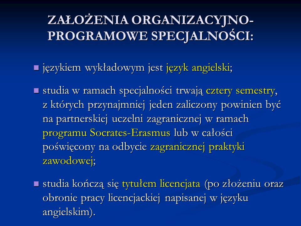 ZAŁOŻENIA ORGANIZACYJNO- PROGRAMOWE SPECJALNOŚCI: językiem wykładowym jest język angielski; językiem wykładowym jest język angielski; studia w ramach