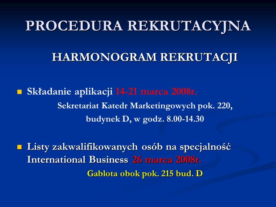 PROCEDURA REKRUTACYJNA HARMONOGRAM REKRUTACJI Składanie aplikacji 14-21 marca 2008r. Sekretariat Katedr Marketingowych pok. 220, budynek D, w godz. 8.