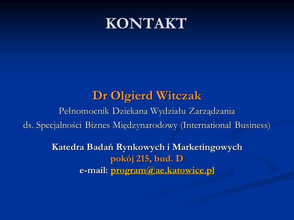KONTAKT Dr Olgierd Witczak Pełnomocnik Dziekana Wydziału Zarządzania ds. Specjalności Biznes Międzynarodowy (International Business) Katedra Badań Ryn