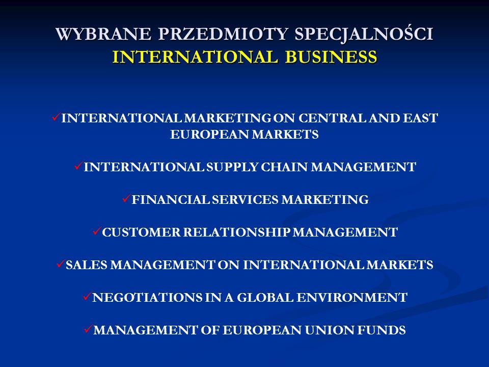 WYBRANE PRZEDMIOTY SPECJALNOŚCI INTERNATIONAL BUSINESS INTERNATIONAL MARKETING ON CENTRAL AND EAST EUROPEAN MARKETS INTERNATIONAL SUPPLY CHAIN MANAGEM