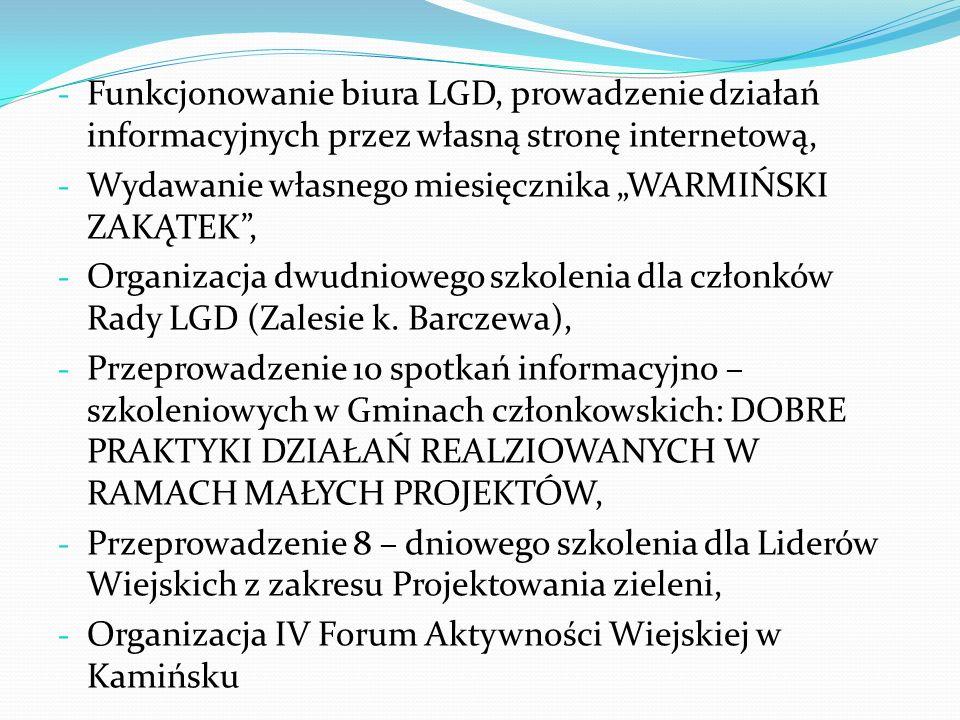 - Funkcjonowanie biura LGD, prowadzenie działań informacyjnych przez własną stronę internetową, - Wydawanie własnego miesięcznika WARMIŃSKI ZAKĄTEK, -