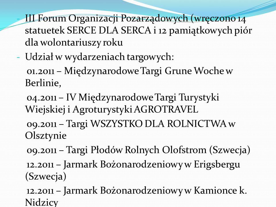 - III Forum Organizacji Pozarządowych (wręczono 14 statuetek SERCE DLA SERCA i 12 pamiątkowych piór dla wolontariuszy roku - Udział w wydarzeniach tar