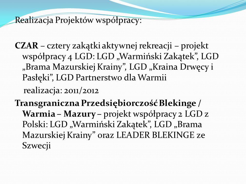 Realizacja Projektów współpracy: CZAR – cztery zakątki aktywnej rekreacji – projekt współpracy 4 LGD: LGD Warmiński Zakątek, LGD Brama Mazurskiej Krai