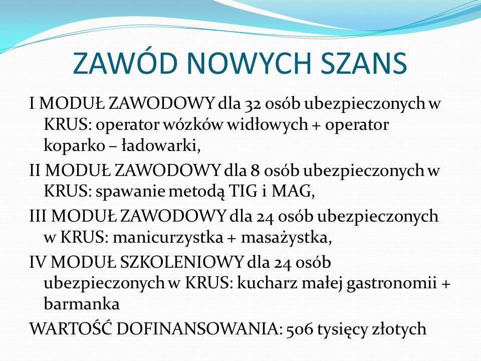 ZAWÓD NOWYCH SZANS I MODUŁ ZAWODOWY dla 32 osób ubezpieczonych w KRUS: operator wózków widłowych + operator koparko – ładowarki, II MODUŁ ZAWODOWY dla