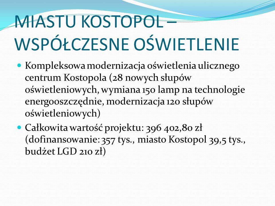 MIASTU KOSTOPOL – WSPÓŁCZESNE OŚWIETLENIE Kompleksowa modernizacja oświetlenia ulicznego centrum Kostopola (28 nowych słupów oświetleniowych, wymiana