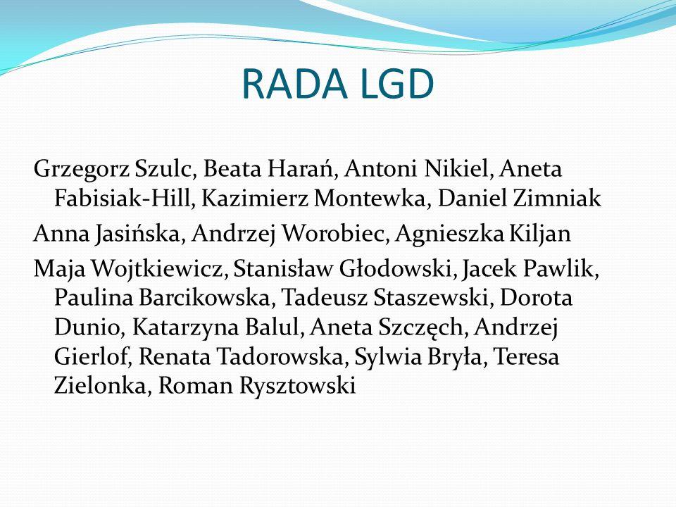RADA LGD Grzegorz Szulc, Beata Harań, Antoni Nikiel, Aneta Fabisiak-Hill, Kazimierz Montewka, Daniel Zimniak Anna Jasińska, Andrzej Worobiec, Agnieszk