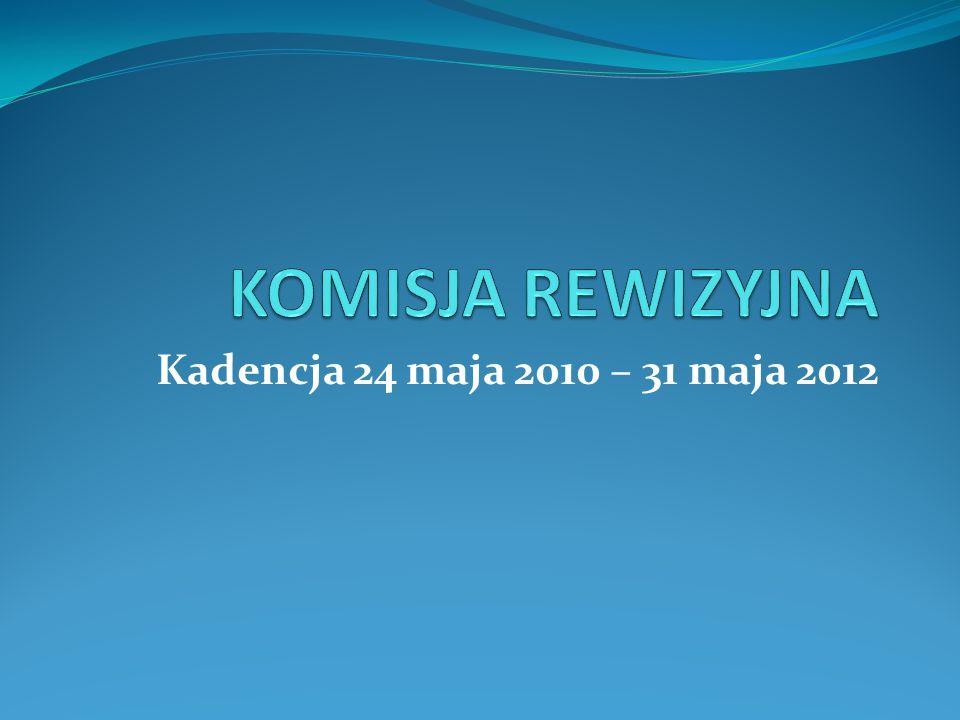 KOMISJA REWIZYJNA Izabella Andruszkiewicz-Ładna – przewodnicząca Krzysztof Budyta, Alicja Styczewska, Wiesław Budrewicz Izabella Czaplicka 2011 – 1 posiedzenie, podjęto 2 uchwały 2012 – 1 posiedzenie, podjęto 3 uchwały
