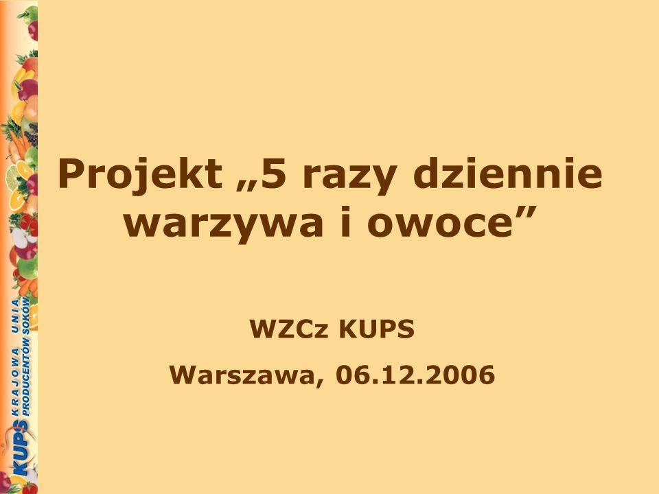 Projekt 5 razy dziennie warzywa i owoce WZCz KUPS Warszawa, 06.12.2006