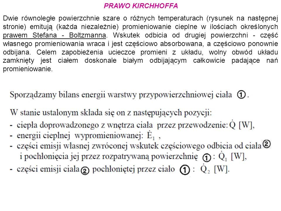 PRAWO KIRCHHOFFA Dwie równoległe powierzchnie szare o różnych temperaturach (rysunek na następnej stronie) emitują (każda niezależnie) promieniowanie