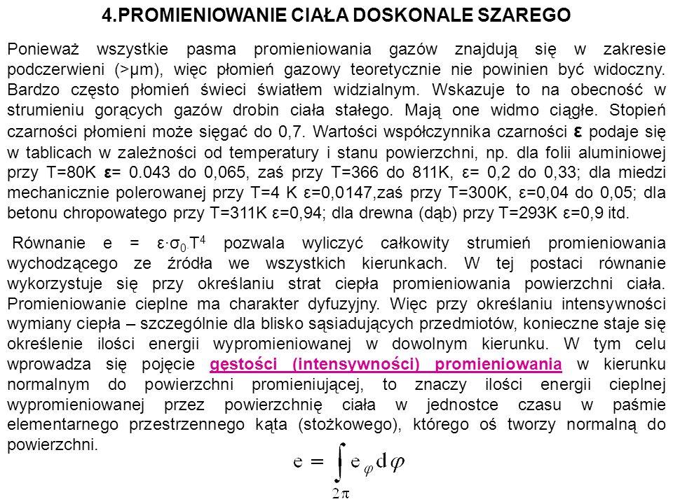 4.PROMIENIOWANIE CIAŁA DOSKONALE SZAREGO Ponieważ wszystkie pasma promieniowania gazów znajdują się w zakresie podczerwieni (>μm), więc płomień gazowy