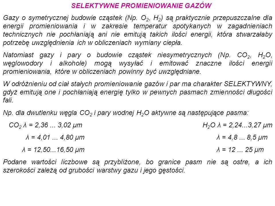 SELEKTYWNE PROMIENIOWANIE GAZÓW Gazy o symetrycznej budowie cząstek (Np. O 2, H 2 ) są praktycznie przepuszczalne dla energii promieniowania i w zakre