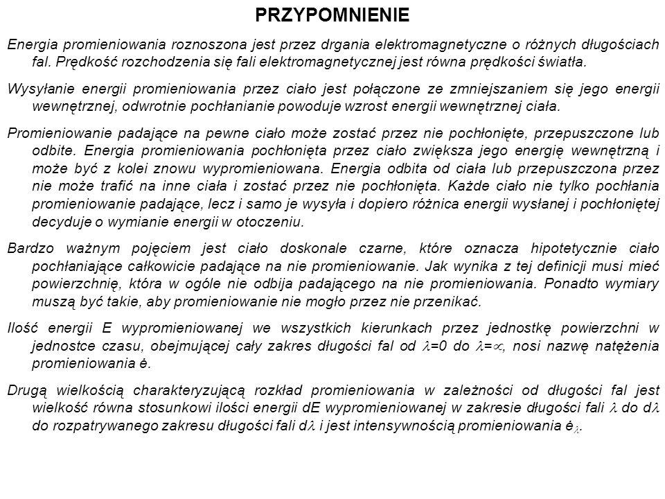 PRZYPOMNIENIE Energia promieniowania roznoszona jest przez drgania elektromagnetyczne o różnych długościach fal. Prędkość rozchodzenia się fali elektr