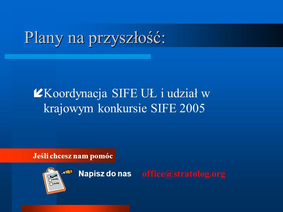 Plany na przyszłość: Koordynacja SIFE UŁ i udział w krajowym konkursie SIFE 2005 Jeśli chcesz nam pomóc Napisz do nas office@stratolog.org