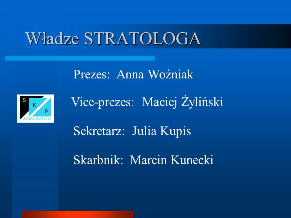 Władze STRATOLOGA Prezes: Anna Woźniak Vice-prezes: Maciej Żyliński Sekretarz: Julia Kupis Skarbnik: Marcin Kunecki