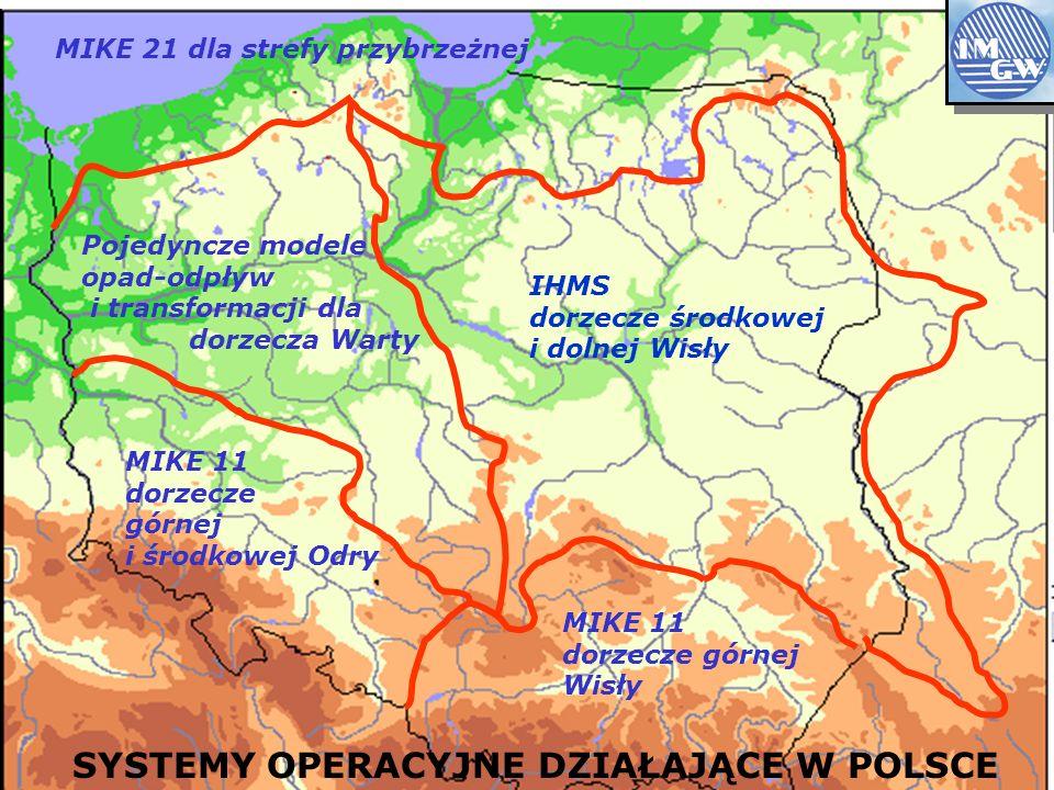 IHMS dorzecze środkowej i dolnej Wisły MIKE 11 dorzecze górnej Wisły MIKE 11 dorzecze górnej i środkowej Odry SYSTEMY OPERACYJNE DZIAŁAJĄCE W POLSCE Pojedyncze modele opad-odpływ i transformacji dla dorzecza Warty MIKE 21 dla strefy przybrzeżnej