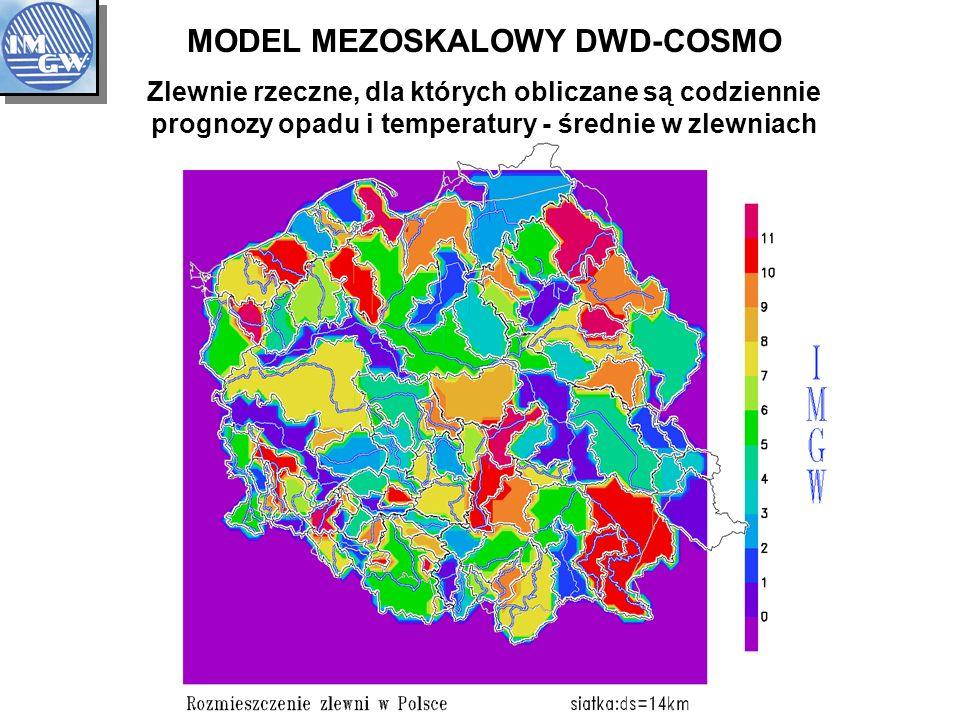 MODEL MEZOSKALOWY DWD-COSMO Zlewnie rzeczne, dla których obliczane są codziennie prognozy opadu i temperatury - średnie w zlewniach
