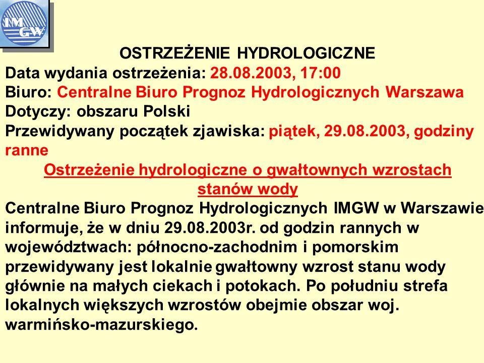 OSTRZEŻENIE HYDROLOGICZNE Data wydania ostrzeżenia: 28.08.2003, 17:00 Biuro: Centralne Biuro Prognoz Hydrologicznych Warszawa Dotyczy: obszaru Polski Przewidywany początek zjawiska: piątek, 29.08.2003, godziny ranne Ostrzeżenie hydrologiczne o gwałtownych wzrostach stanów wody Centralne Biuro Prognoz Hydrologicznych IMGW w Warszawie informuje, że w dniu 29.08.2003r.