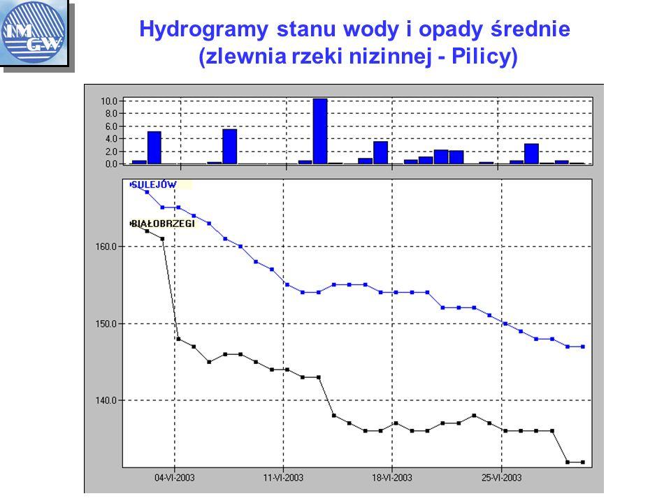 Hydrogramy stanu wody i opady średnie (zlewnia rzeki nizinnej - Pilicy)