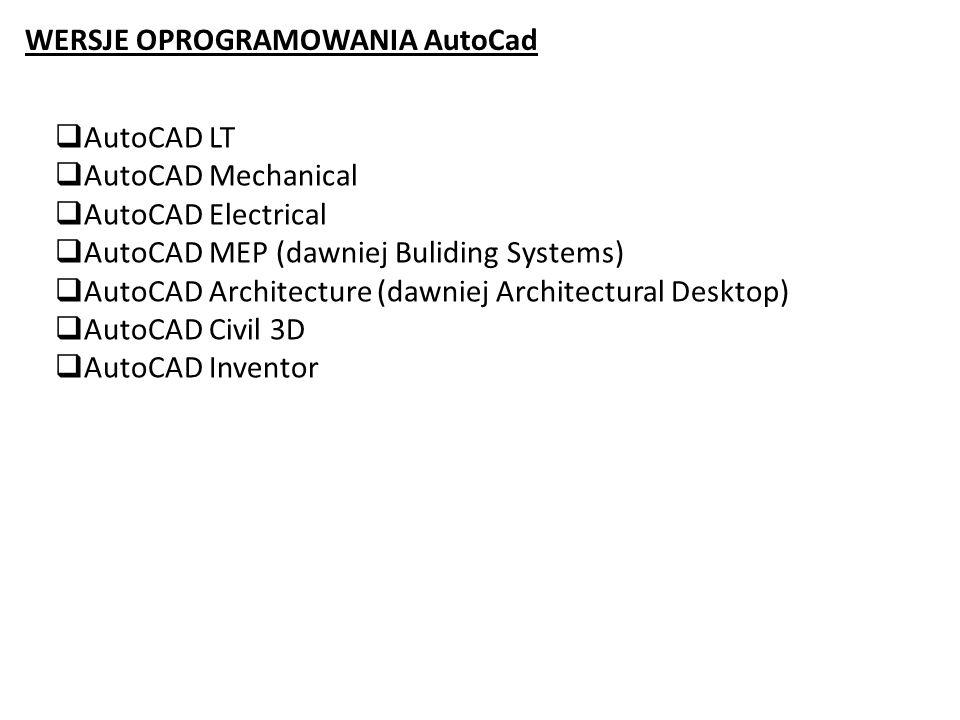 WERSJE OPROGRAMOWANIA AutoCad AutoCAD LT AutoCAD Mechanical AutoCAD Electrical AutoCAD MEP (dawniej Buliding Systems) AutoCAD Architecture (dawniej Ar