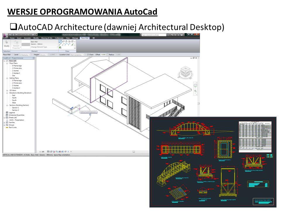 WERSJE OPROGRAMOWANIA AutoCad AutoCAD Architecture (dawniej Architectural Desktop)