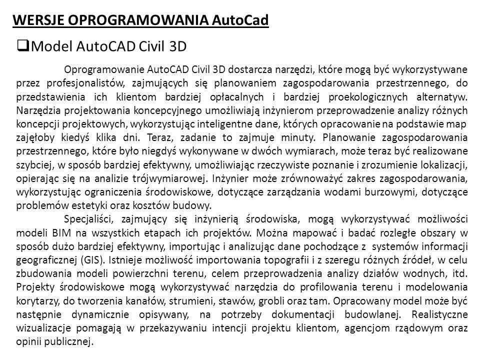 WERSJE OPROGRAMOWANIA AutoCad Model AutoCAD Civil 3D Oprogramowanie AutoCAD Civil 3D dostarcza narzędzi, które mogą być wykorzystywane przez profesjon