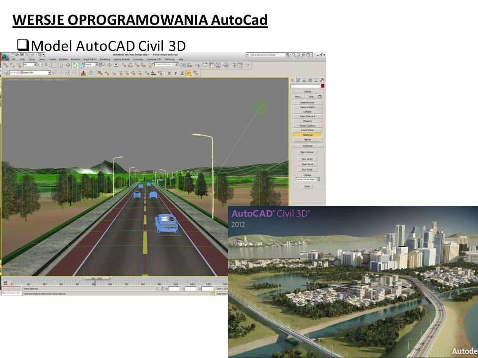 WERSJE OPROGRAMOWANIA AutoCad Model AutoCAD Civil 3D