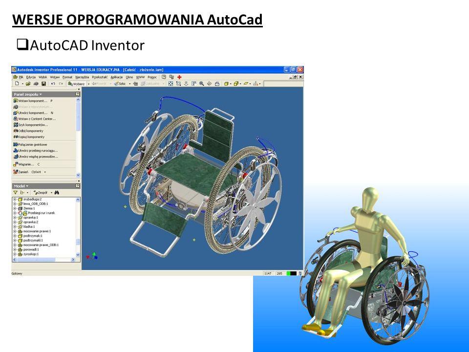 WERSJE OPROGRAMOWANIA AutoCad AutoCAD Inventor
