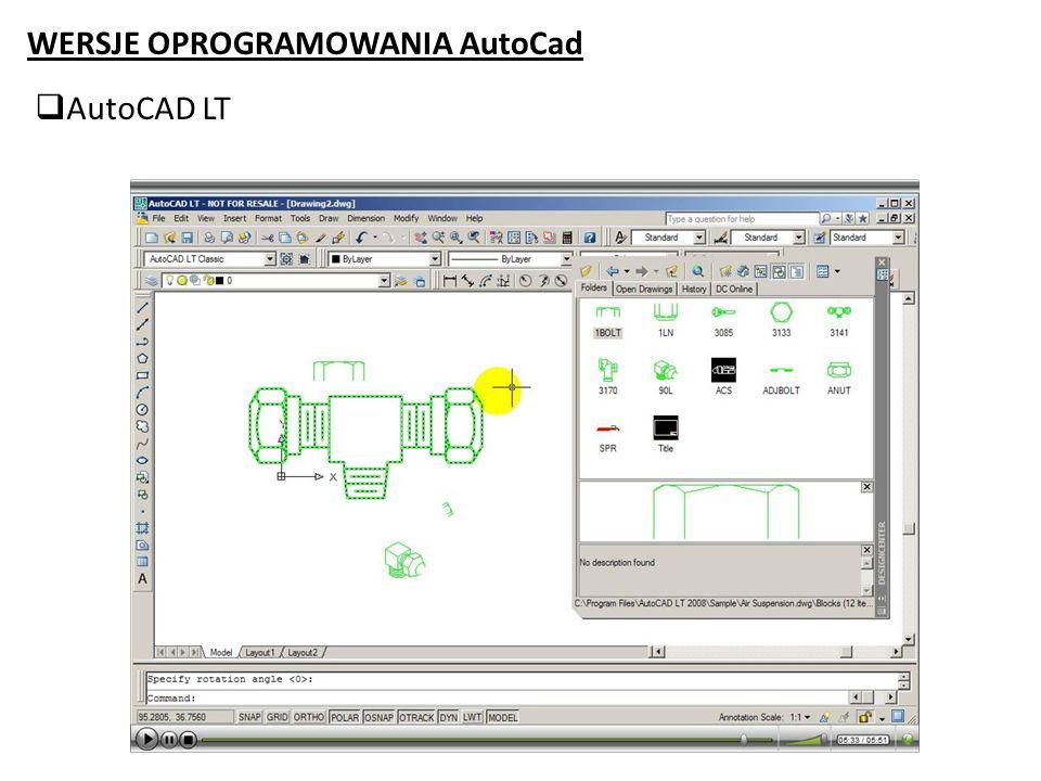 WERSJE OPROGRAMOWANIA AutoCad AutoCAD Mechanical To wersja programu AutoCAD opracowana dla inżynierów mechaników.