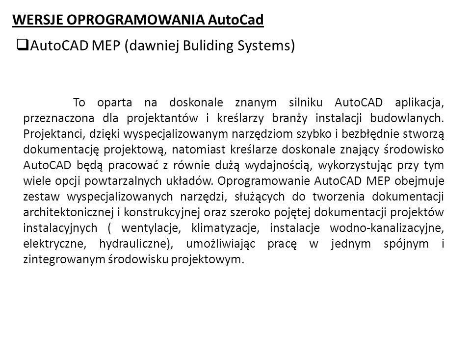 WERSJE OPROGRAMOWANIA AutoCad AutoCAD MEP (dawniej Buliding Systems)