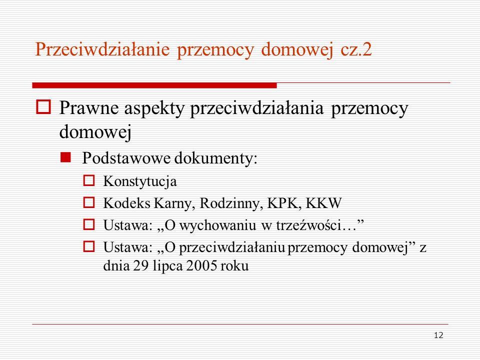12 Przeciwdziałanie przemocy domowej cz.2 Prawne aspekty przeciwdziałania przemocy domowej Podstawowe dokumenty: Konstytucja Kodeks Karny, Rodzinny, K