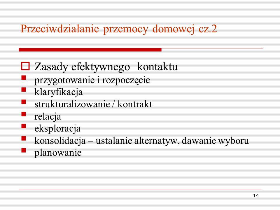 14 Przeciwdziałanie przemocy domowej cz.2 Zasady efektywnego kontaktu przygotowanie i rozpoczęcie klaryfikacja strukturalizowanie / kontrakt relacja e