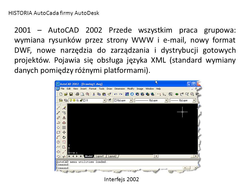 HISTORIA AutoCada firmy AutoDesk 2001 – AutoCAD 2002 Przede wszystkim praca grupowa: wymiana rysunków przez strony WWW i e-mail, nowy format DWF, nowe