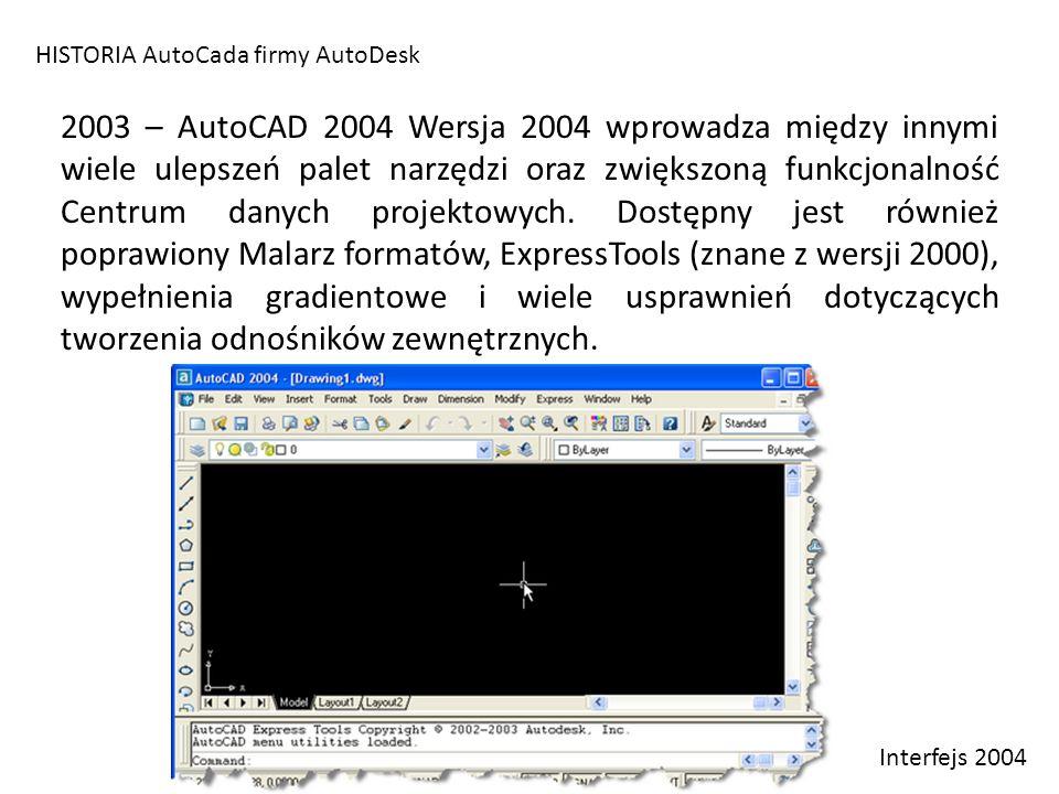 HISTORIA AutoCada firmy AutoDesk 2003 – AutoCAD 2004 Wersja 2004 wprowadza między innymi wiele ulepszeń palet narzędzi oraz zwiększoną funkcjonalność