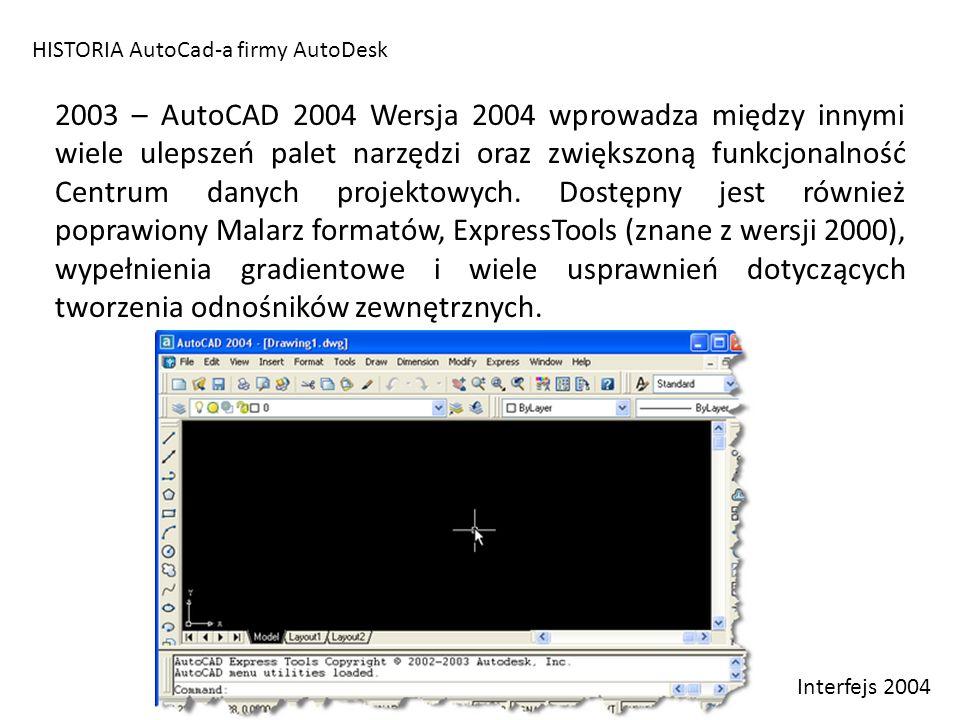 HISTORIA AutoCad-a firmy AutoDesk 2003 – AutoCAD 2004 Wersja 2004 wprowadza między innymi wiele ulepszeń palet narzędzi oraz zwiększoną funkcjonalność