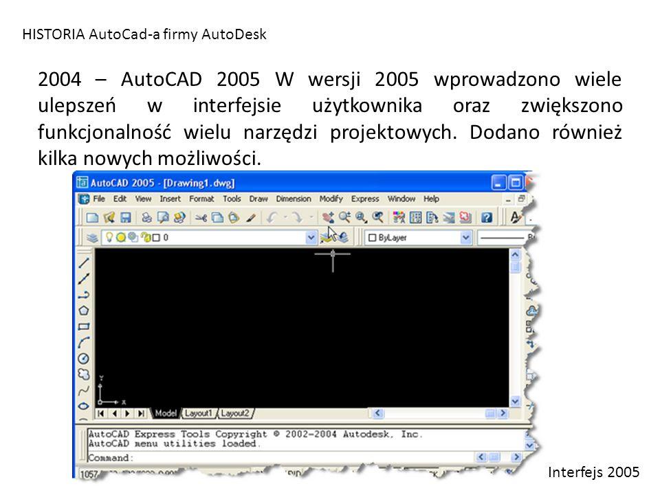 HISTORIA AutoCad-a firmy AutoDesk 2004 – AutoCAD 2005 W wersji 2005 wprowadzono wiele ulepszeń w interfejsie użytkownika oraz zwiększono funkcjonalnoś