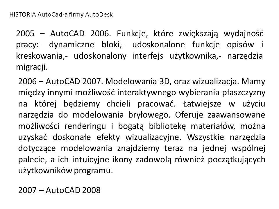 HISTORIA AutoCad-a firmy AutoDesk 2005 – AutoCAD 2006. Funkcje, które zwiększają wydajność pracy:- dynamiczne bloki,- udoskonalone funkcje opisów i kr