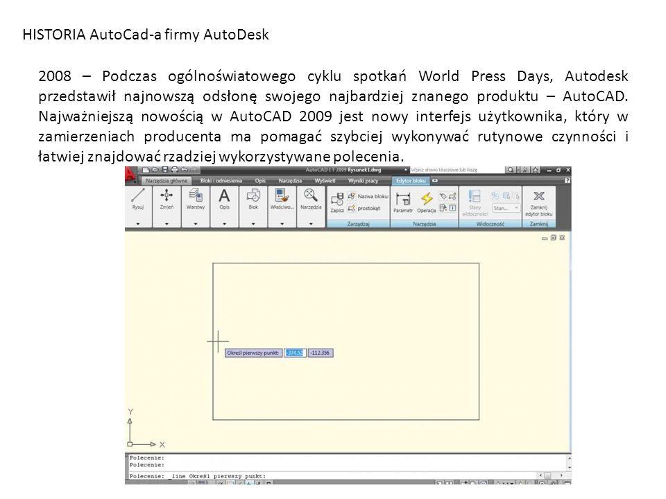 HISTORIA AutoCad-a firmy AutoDesk 2008 – Podczas ogólnoświatowego cyklu spotkań World Press Days, Autodesk przedstawił najnowszą odsłonę swojego najba