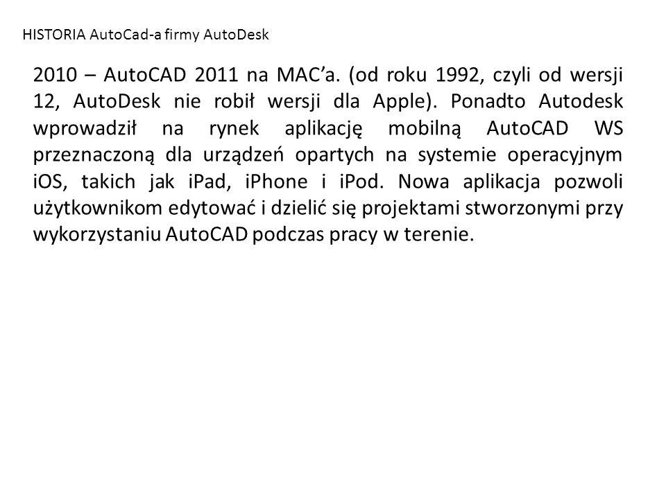 HISTORIA AutoCad-a firmy AutoDesk 2010 – AutoCAD 2011 na MACa. (od roku 1992, czyli od wersji 12, AutoDesk nie robił wersji dla Apple). Ponadto Autode