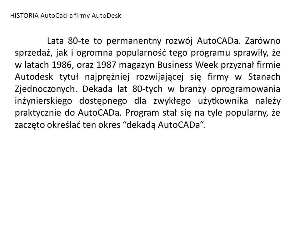 HISTORIA AutoCad-a firmy AutoDesk Lata 80-te to permanentny rozwój AutoCADa. Zarówno sprzedaż, jak i ogromna popularność tego programu sprawiły, że w