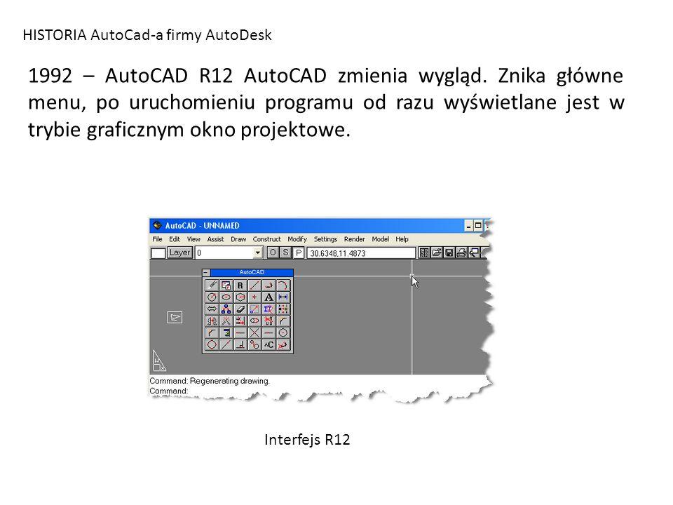 HISTORIA AutoCad-a firmy AutoDesk 1994 – AutoCAD R13 Po raz pierwszy interfejs AutoCAD-a oparty jest na standardowych elementach interfejsu Windows i obsługuje technologię OLE (wymiana plików, danych pomiędzy programami zainstalowanymi w systemie).